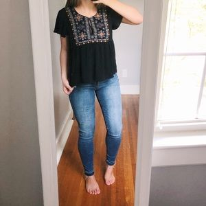American Eagle Embroidered Peplum Top